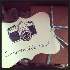 Lauren Schierloh Photography packaging. I already have this camera stamp. Could find a cute word or saying