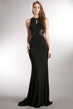 Elegant Evening Gown AC359. Floor Length Mermaid Silhouette Evening Gown has Embroidery and Detail Beading Embellished Bodice with Halter Neckline featuring Front Keyhole Detail, Semi Sheer Back and Sides, Zipper Back Closure, Long Skirt with Sequined Mesh Insert on Back with Sweeping Train Detail. https://www.smcfashion.com/wholesale-evening-dresses/elegant-evening-gown-ac359