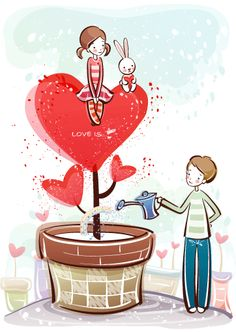 cute little couple vector :* Love Is Cartoon, Cute Couple Cartoon, Cute Love Cartoons, Japanese Paper Art, Unicorn Wallpaper Cute, Valentines Art, Diy Bow, Disney Drawings, Love Art