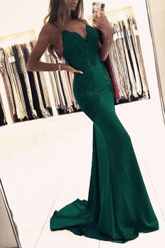Elegant Satin Mermaid Prom Evening Dresses Lace Appliques ML13257 by moonlight, $148.44 USD