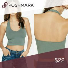 NWT sage green halter crop top Super soft and stretchy comfortable material. This top is perfect for any occasion and looks sexy on any body type. Pair with shorts or pants or even a skirt. Versatile and sexy. Boutique  Tops Crop Tops
