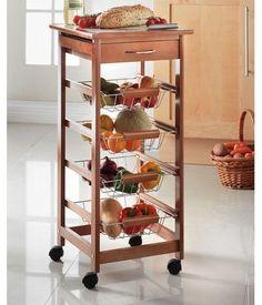 4 Tier Wooden Kitchen Fruit Vegetable Storage Trolley Cart Basket with Drawer