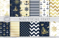 Nautical Digital Paper: NAVY GOLD NAUTICAL by MNINEDESIGNS on Etsy