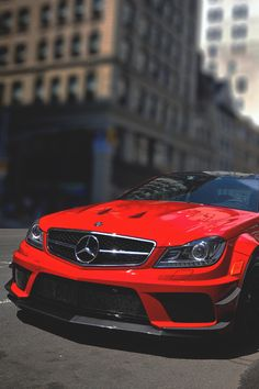 Red Mercedes Benz C63 AMG