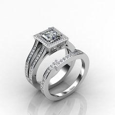 Halo Princess Diamond Engagement Ring Bridal Set EGL E VS2 14k White Gold 2.35ct