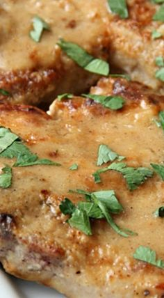 Smothered Pork Chops - A delicious pork chop recipe that is a family favorite recipe. Even picky eaters will love this dinner ❊ Smothered Porkchops, Smothered Pork Chops Recipe, Baked Pork Chops, Pork Loin, White Meat, Sauce For Pork Chops, Pork Recipes, Cooking Recipes, Cooking Ideas