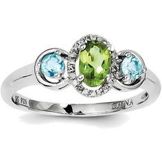 Sterling Silver Rhodium Peridot & Blue Topaz Diamond Ring (105 CAD) ❤ liked on Polyvore featuring jewelry, rings, rhodium diamond rings, blue topaz rings, diamond jewelry, rhodium ring and peridot jewellery