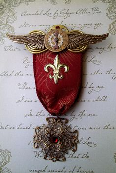 Medal steampunk | Steampunk Military Style Medal (M11) - Red Ribbon with Brass Filigree ...