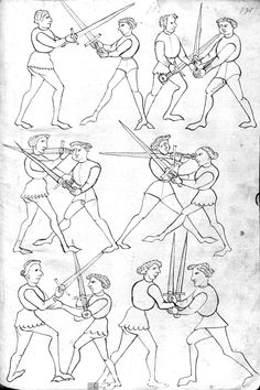 Longsword techniques from a German manuscript, thought by some scholars to represent a tradition related to that represented by Italian master Fiore dei Liberi. Historical European Martial Arts, Historical Art, Fight Techniques, Art Techniques, Medieval Manuscript, Medieval Art, Marshal Arts, Maleficarum, Sword Fight