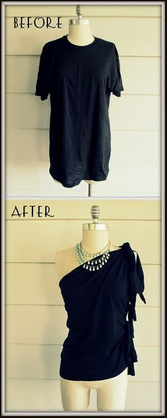 """I love this shirt! To the previous pinner: If you don't take a cheap t-shirt and make something else with it, you'll just be going to the store and buying the exact same thing for $30-$100 that you could have made for $5 or less. THAT is the point of cutting up """"a perfectly good t-shirt"""""""