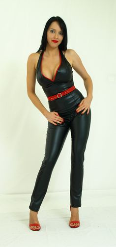 Black soft eco-leather overalls with red elements http://www.obuwie-erotyczne.pl/item.html/id/4093094629