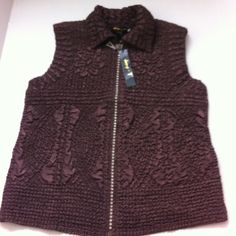 Brown crinkly vest with blingy zipper. Fun crinkly dark brown vest. Rhinestones zipper. Lightweight and side pockets. Tag size small but would fit a medium as well. boutique Jackets & Coats Vests