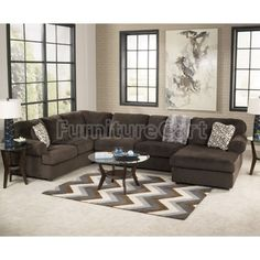 Great Jessa Place Chocolate Sectional Living Room Set