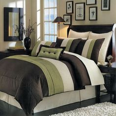 Modern Color Block Green Brown Comforter and Shams Set with Decorative Pillows.  Oversized to fit thick mattress