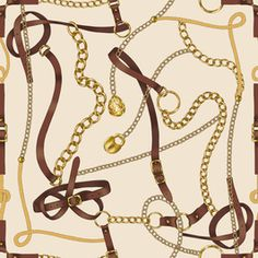 Belts and Chains by Elona laff Seamless Repeat Royalty-Free Stock Pattern Textile Pattern Design, Baroque Pattern, Graphic Patterns, Print Patterns, Pattern Bank, Nautical Prints, Horse Fabric, Elephant Tapestry, Versace