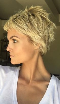 "Choppy Blond Pixie Cut More [ ""pixie haircut - pixie cut for blonde hair"", ""pixie haircut - short hairstyle with purple fringe"" ] # # # # # # # # Short Cropped Hair, Short Hair Cuts, Short Hair Styles, Short Pixie, Pixie Cuts, Asymmetrical Pixie, Messy Short Hair, Razor Cut Hair, Messy Pixie"