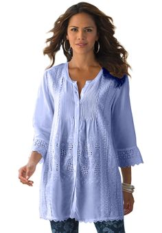 Your favorite plus size bigshirt style, in the most feminine texture. #Pantone #PlacidBlue