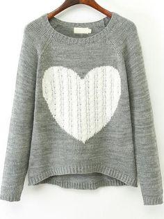 Jersey punto corazón manga larga-gris