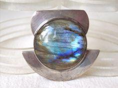 Vintage Large Modernist Labradorite Stone in 800 Silver Pendant.