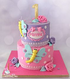 Butterfly cake in soft pinks, purples and gold - SmartieBox Cake Studio Butterfly Birthday Cakes, Pink Birthday Cakes, Beautiful Birthday Cakes, Butterfly Cakes, Fondant Cake Designs, Fondant Cakes, Cupcake Cakes, Pastel Mickey, Cake Designs For Girl