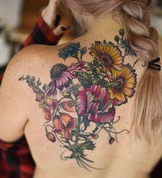 echinacea foxgloves poppy botanical flower tattoo by Aubrey Mennella : IG Aubrey. flower tattoo echinacea foxgloves poppy botanical flower tattoo by Aubrey Mennella : IG Aubrey Nature Tattoos, Body Art Tattoos, New Tattoos, Sleeve Tattoos, Cool Tattoos, Small Tattoos, Tatoos, Styles Of Tattoos, Pretty Tattoos