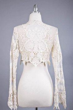 Vintage Style Victorian Lace Cardigan Crop Shrug Bolero Jacket Goth Black New | eBay