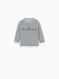 14eee1a25d8 ZARA - SALE - STRIPED T-SHIRT WITH CORD DETAIL