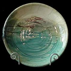 Raku Platter Wheel-thrown. 13 inches in diameter