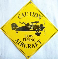 Low Flying Aircraft Sign Advertising Porcelain Aircraft Sign Aviation Mancave