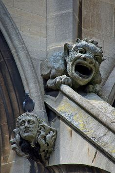 If we ever get to build our own home, there will be gargoyles. Gothic Buildings, Gothic Architecture, Architecture Details, Statues, Gothic Gargoyles, Architectural Sculpture, Green Man, Stone Carving, Mythical Creatures