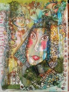 Doe-Eyed Girl and her Spirit Guides by mimuluxART on Etsy Doe Eyes, India Ink, Spirit Guides, Fine Art, Wall Art, Artist, Painting, Etsy, Pictures