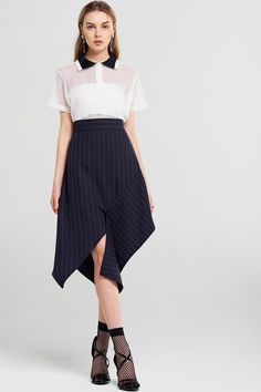 Willow Stripe Slit Midi Skirt Discover the latest fashion trends online at storets.com #fashion #stripes #slitskirt #midiskirt #skirts #storetsonme