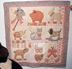 Appliqued baby quilt, sugar and spice