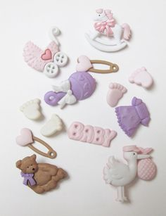 New Arrival Baby Girl Buttons  Set of  13 Pieces by LaurelArts