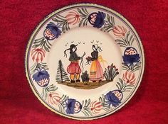 Sweet-Vintage-HB-Quimper-Breton-Couple-French-Faience-Plate-ff394