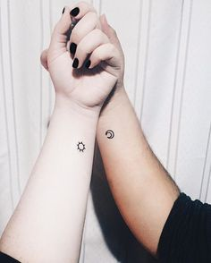 Pin for Later: 37 Tiny Tattoos For Big-Time Besties Sun and Moon