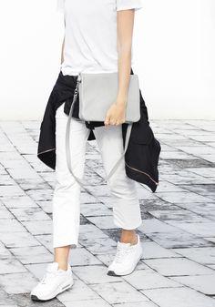 white tees white jeans white sneakers black bomber