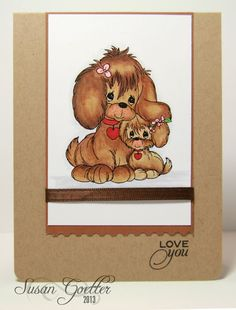 handmade love card from Susan Goetter ... kraft base ... adorable digi image of two dogs ... lovely Copic coloring ... great card!