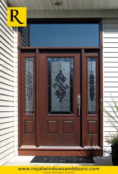 Single Entry Door, Two Side Lites, Transom, Wood Finish, Designer Glass Door Design, House Design, Entry Doors With Glass, Exterior Doors, Long Island, Windows And Doors, Indoor, Rustic, Contemporary