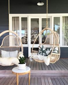 "Slightly Garden Obsessed on Instagram: ""Currently hanging at my #cottesloeprojectno1 .. Check out more on my #InstaStory IN LOVE with these chairs from my faves at @empirehomewares My client @soniasiemer has insane taste  xx PS. Limewashed deck is where it's at!!!!!"" #Swings&Swinging"