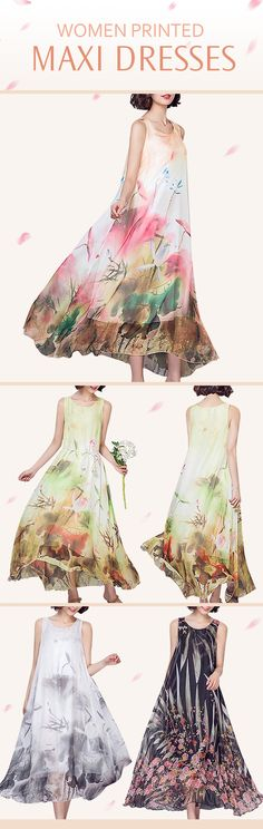 US$31.56  Women Sleeveless Printed O-Neck Two Layers Maxi Dresses