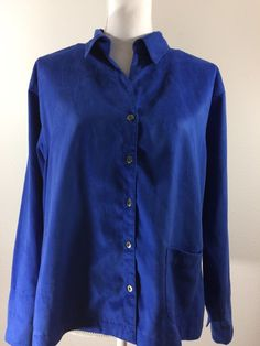 Chico's Faux Suede Button Down Front Shirt Top Size 2 Long Sleeve Royal Blue #Chicos #ButtonDownShirt #Casual
