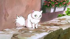 Lily is a pretty white cat who catches Jiji's eye in the classic animated film by Hayao Miyazaki, Majo no takkyûbin (Kiki's Delivery Service) (1989).