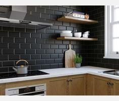 Metro Matt Black Wall Tile - Metro Wall Tiles from Tile Mountain Black Wall Tiles, Black Subway Tiles, Black Backsplash, Black Walls, Black Splashback, Backsplash Ideas, Kitchen Tiles Design, Kitchen Redo, Subway Tiles