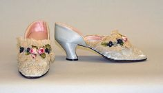 Slippers,  Date: late 1920s to early 1930s, Culture: French Medium: silk, cotton, leather, Dimensions: Length: 9 7/8 in. (25.1 cm), Credit Line: Gift of Mr. and Mrs. William A. Belden, 1988, http://www.metmuseum.org/