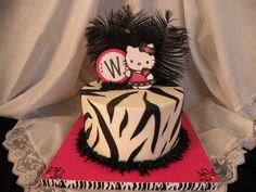 40th B-day Hello Kitty with Zebra stripes - Cake by Teresa Cunha