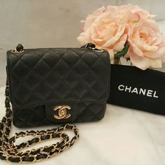 CHANEL Classic Mini Square Flap Bag - Black Caviar A beautiful classic bag that has been lovingly used.  Can be worn on shoulder or crossbody.  Perfect for everyday use or a night out!  The inside strap leather around the chain has come undone at one spot, but does not affect the functionality.  Could easily be restiched. Hardware has hairline scratches, slight rubbing and loose stiches from normal use.  Not noticeable.  Authenticity card has been misplaced, but can authenticate on…