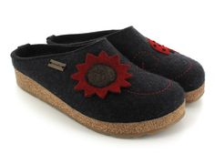 HAFLINGER® GZ Felt Clog With A Flower| Grizzly Nelly, Dark Grey -normal