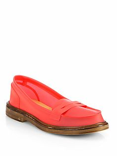 MM6 Maison Martin Margiela PVC LoafersA boldly hued PVC design is anchored by a rugged stacked sole for a uniquely urban look. Stacked heel PVC upper Leather lining and sole Padded insole Made in Italy