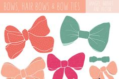 Bow Clip Art and Bow Tie Clip Art by FIELDandFOUNTAIN on Creative Market